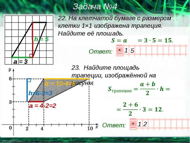 22. На клетчатой бумаге с размером клетки 1×1изображена трапеция. Найдите её...