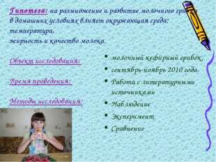 Гипотеза: на размножение и развитие молочного грибка в домашних условиях влия