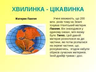 ХВИЛИНКА - ЦІКАВИНКА Материк Пангея Учені вважають, що 200 млн. років тому н