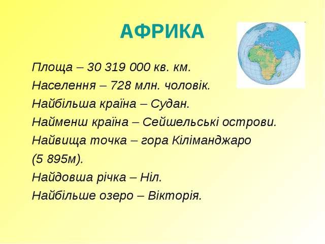 АФРИКА Площа – 30 319 000 кв. км. Населення – 728 млн. чоловік. Найбільша...