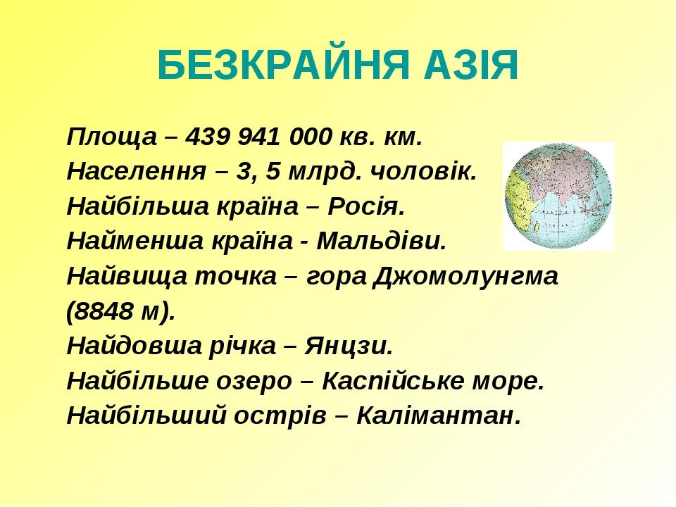 БЕЗКРАЙНЯ АЗІЯ Площа – 439 941 000 кв. км. Населення – 3, 5 млрд. чоловік....