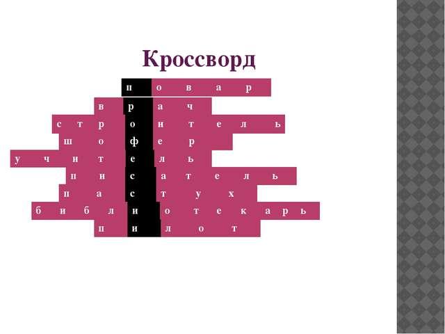 Кроссворд п о в а р в р а ч с т р о и т е л ь ш о ф е р у ч и т е л ь п и с а...