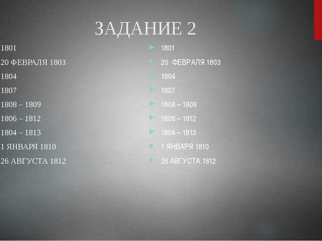 ЗАДАНИЕ 2 1801 20 ФЕВРАЛЯ 1803 1804 1807 1808 – 1809 1806 – 1812 1804 – 1813...