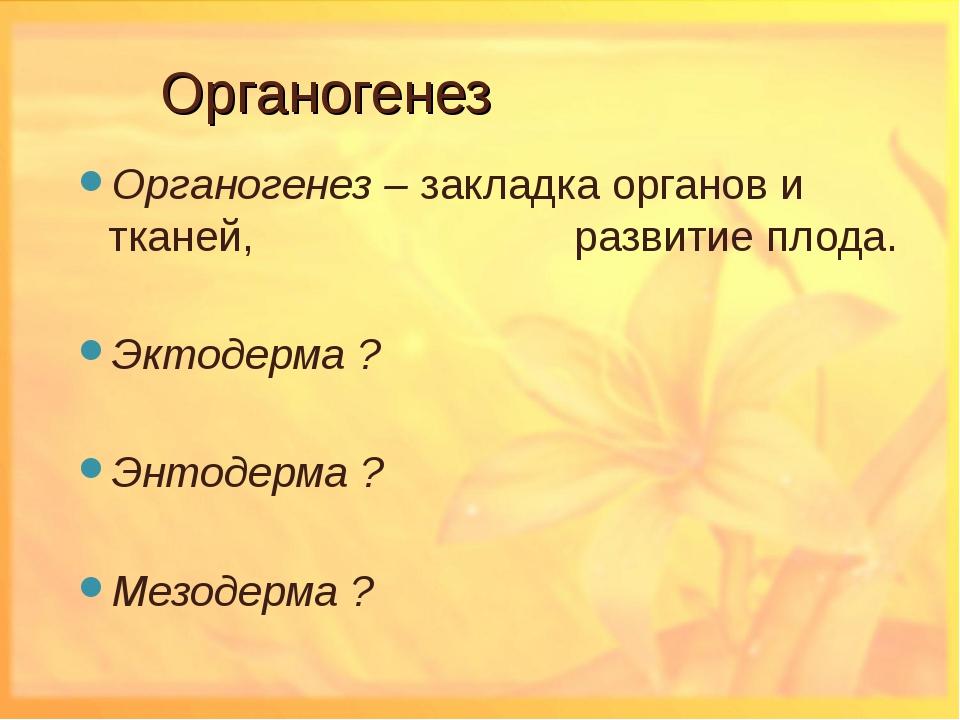 Органогенез Органогенез – закладка органов и тканей,  развитие плода. Экто...