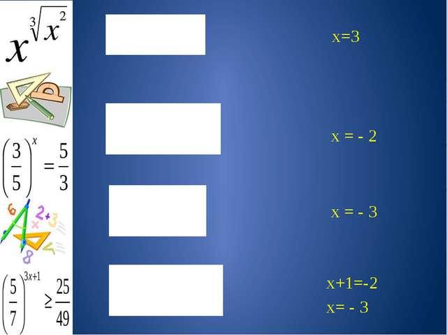 х=3 х = - 2 х = - 3 х+1=-2 х= - 3