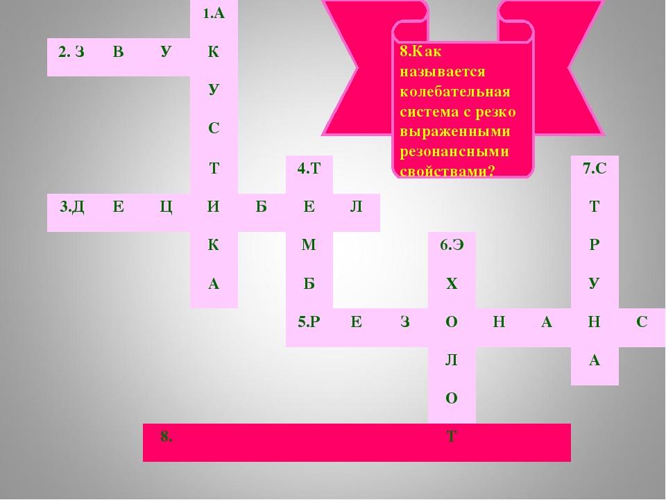 8.Как называется колебательная система с резко выраженными резонансными свойс...