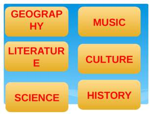GEOGRAPHY MUSIC HISTORY LITERATURE SCIENCE CULTURE 1 2 3 4 5 1 2 3 4 5 1 2 3