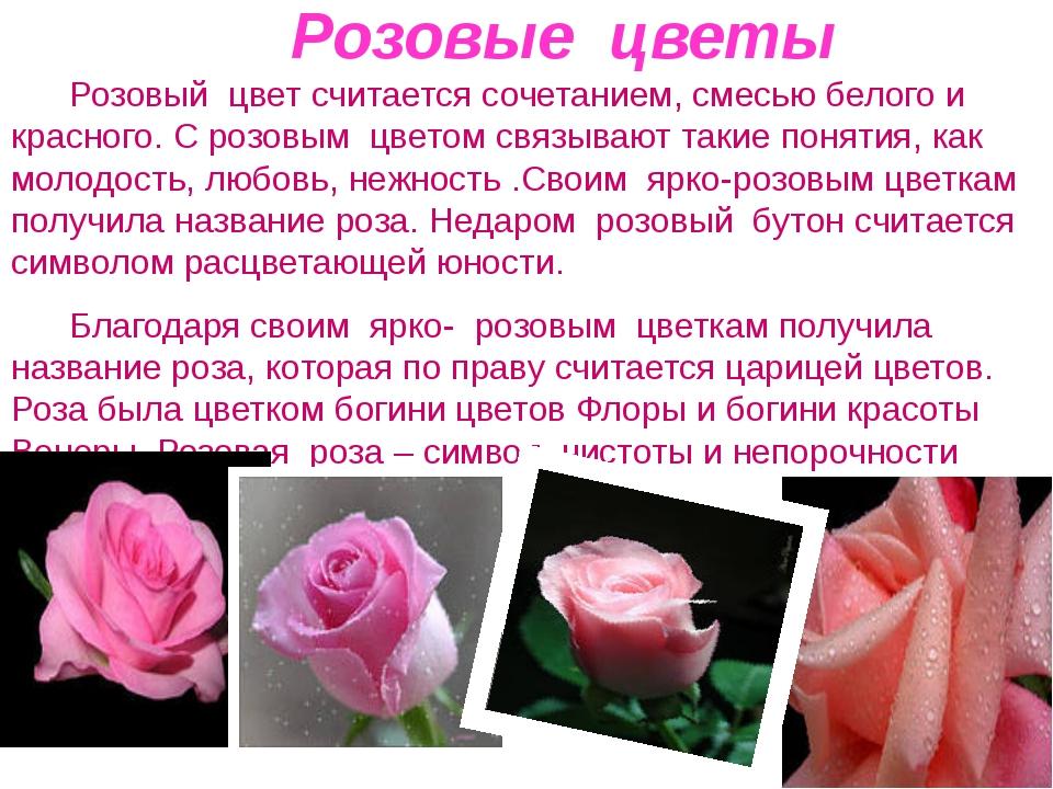 Розовые цветы Розовый цвет считается сочетанием, смесью белого и красного. С...
