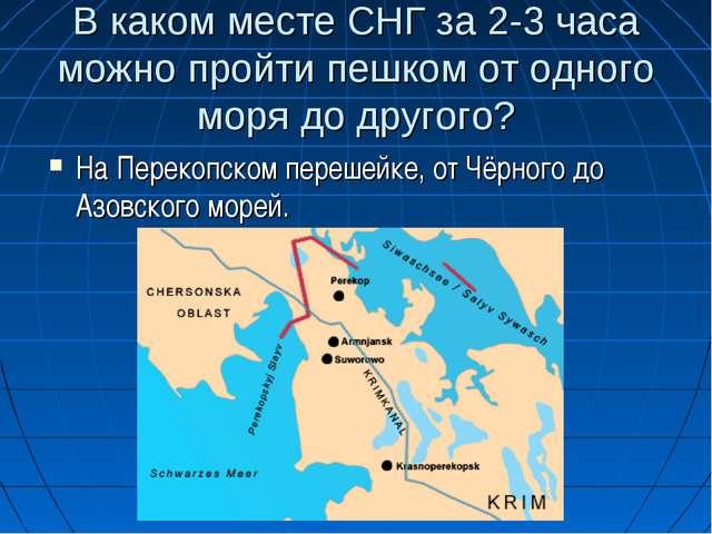 В каком месте СНГ за 2-3 часа можно пройти пешком от одного моря до другого?...