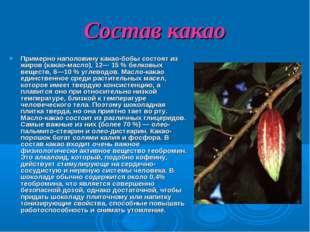 Состав какао Примерно наполовину какао-бобы состоят из жиров (какао-масло), 1
