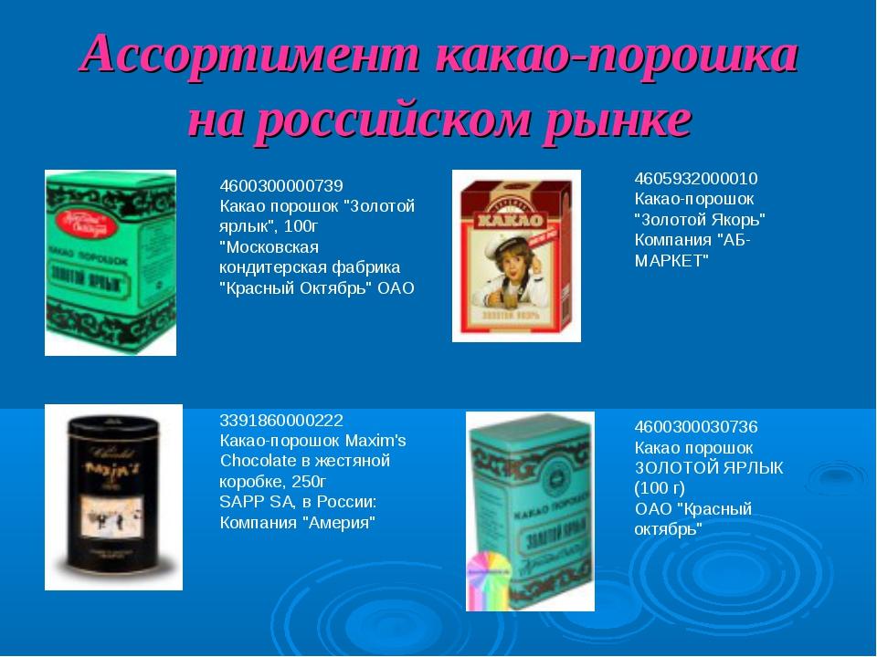 """Ассортимент какао-порошка на российском рынке 4600300000739 Какао порошок """"Зо..."""