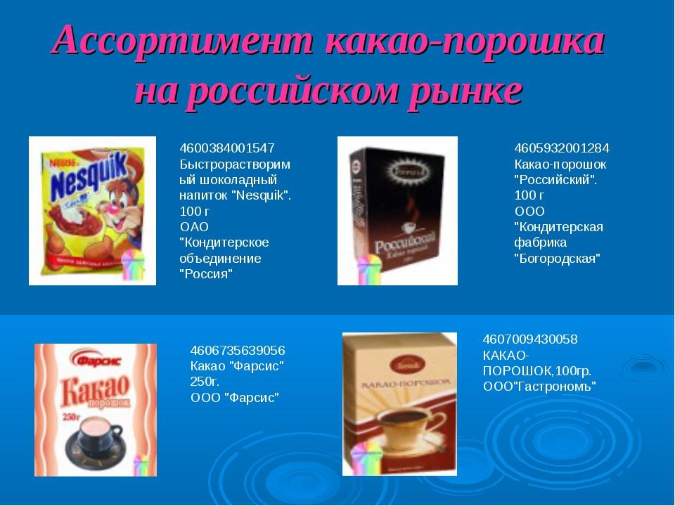 Ассортимент какао-порошка на российском рынке 4600384001547 Быстрорастворимый...