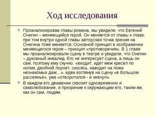 Ход исследования Проанализировав главы романа, мы увидели, что Евгений Онегин