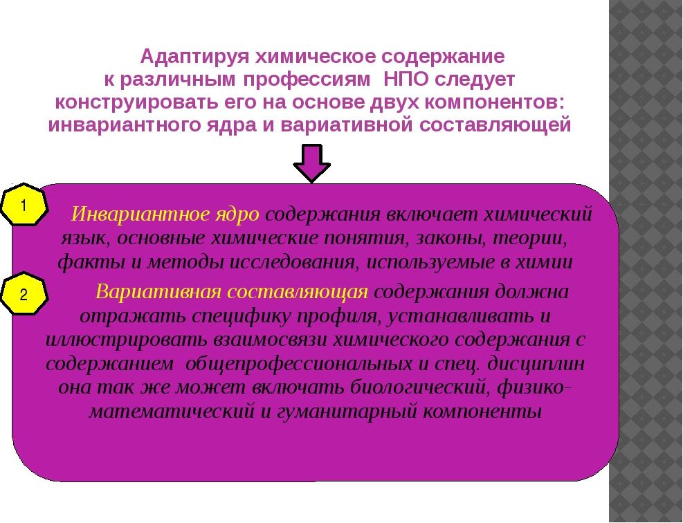 Адаптируя химическое содержание к различным профессиям НПО следует конструиро...