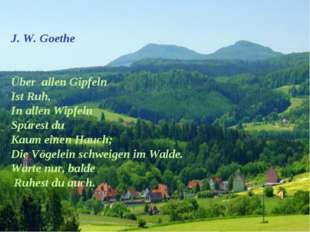 J. W. Goethe Über allen Gipfeln Ist Ruh, In allen Wipfeln Spürest du Kaum ei