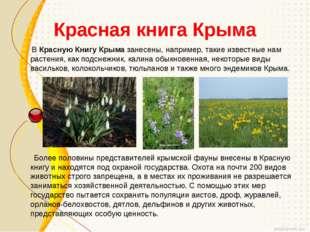 Красная книга Крыма ВКрасную Книгу Крымазанесены, например, такие известные
