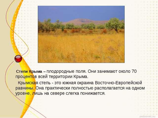 Степи Крыма– плодородные поля. Они занимают около 70 процентов всей террито...