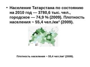 Население Татарстана по состоянию на 2010 год — 3780,6 тыс. чел., городское —