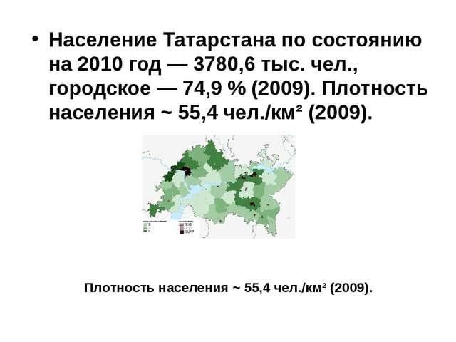 Население Татарстана по состоянию на 2010 год — 3780,6 тыс. чел., городское —...