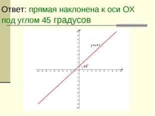 Ответ: прямая наклонена к оси ОХ под углом 45 градусов