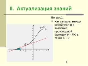 II. Актуализация знаний Вопрос1. Как связаны между собой угол α и значение пр