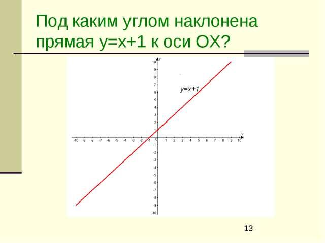 Под каким углом наклонена прямая y=x+1 к оси ОХ?
