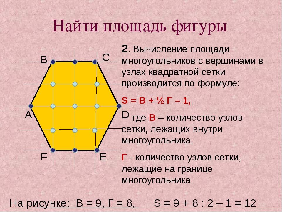 Найти площадь фигуры 2. Вычисление площади многоугольников с вершинами в узла...