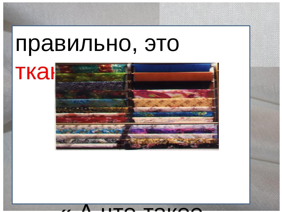 правильно, это ткань. « А что такое ткань?»