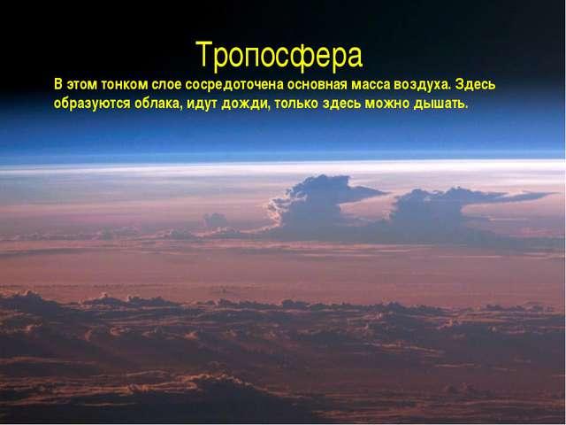 Тропосфера В этом тонком слое сосредоточена основная масса воздуха. Здесь обр...