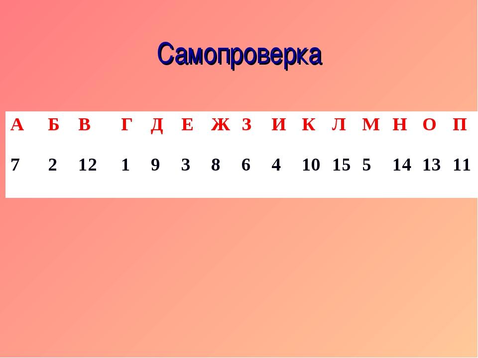 Самопроверка АБВГДЕЖЗИКЛМНОП 721219386410155141311