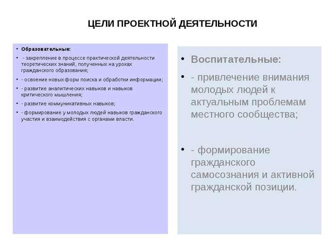 ЦЕЛИ ПРОЕКТНОЙ ДЕЯТЕЛЬНОСТИ Образовательные: - закрепление в процессе практич...