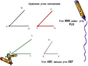 Сравнение углов наложением D D E F Угол ABC меньше угла DEF M L Угол MNK раве