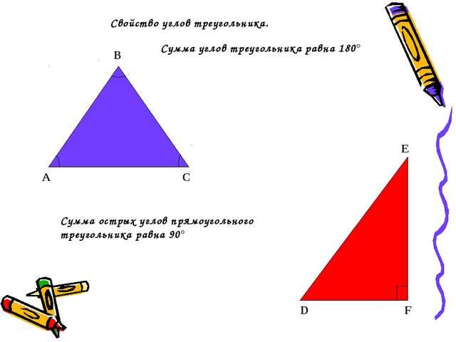 Свойство углов треугольника. А В С Сумма углов треугольника равна 180° Сумма...