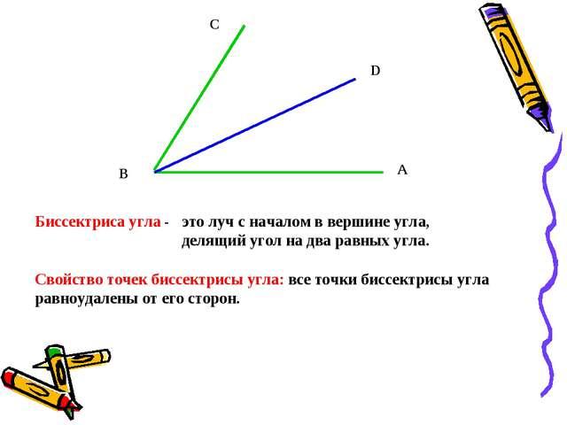 А D C B Биссектриса угла - это луч с началом в вершине угла, делящий угол на...