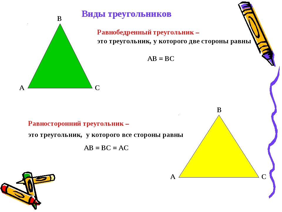 Виды треугольников Равнобедренный треугольник – Равносторонний треугольник –...