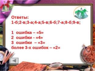 Ответы: 1-б;2-в;3-а;4-а;5-в;6-б;7-а;8-б;9-в; 1 ошибка – «5» 2 ошибки - «4» 3