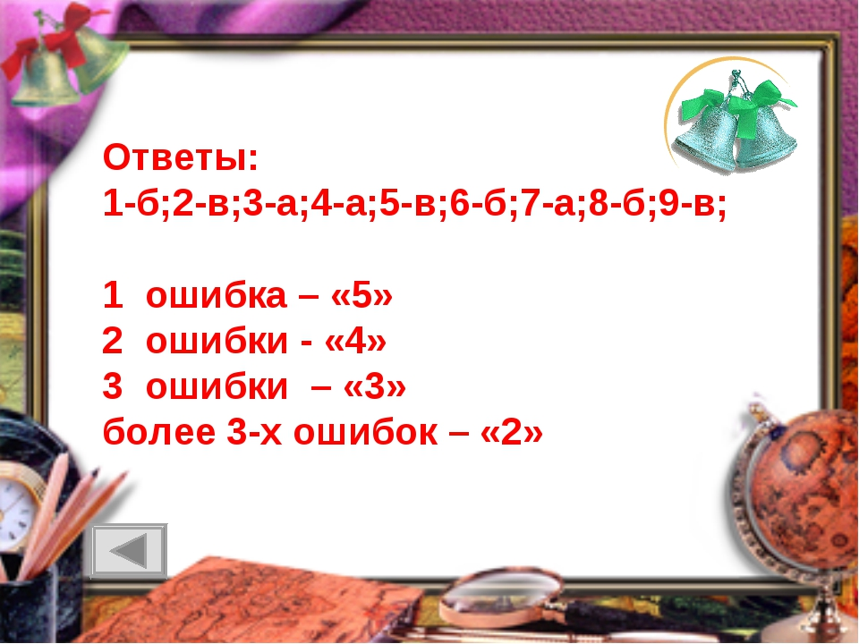 Ответы: 1-б;2-в;3-а;4-а;5-в;6-б;7-а;8-б;9-в; 1 ошибка – «5» 2 ошибки - «4» 3...
