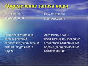 Определение запаха воды Естественного происхожденияИскусственного происхожде