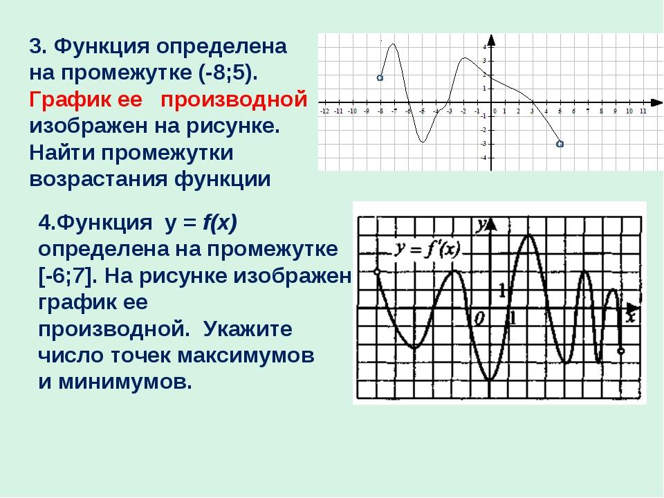 3. Функция определена на промежутке (-8;5). График ее производной изображен н...