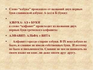 """Слово """"азбука"""" произошло от названий двух первых букв славянской азбуки: А ("""