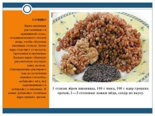 1 стакан зёрен пшеницы, 100г мака, 100г ядер грецких орехов, 1—3 столовые л
