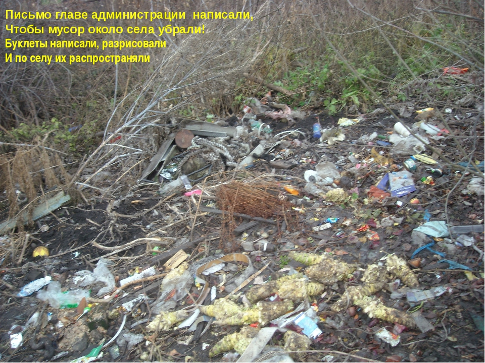 Письмо главе администрации написали, Чтобы мусор около села убрали! Буклеты н...