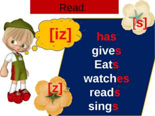Read: has gives Eats watches reads sings [iz] [s] [z]