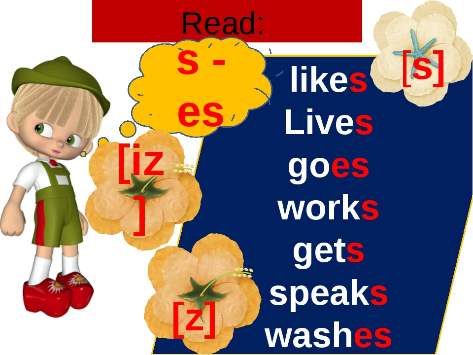 Read: likes Lives goes works gets speaks washes s - es [s] [z] [iz]
