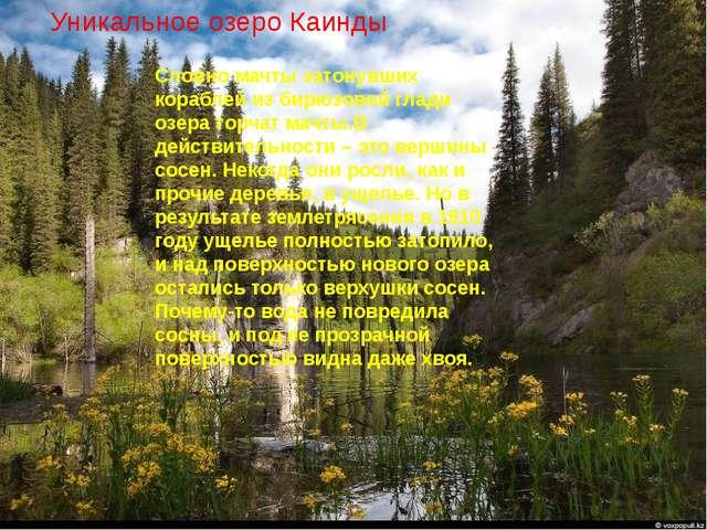 Уникальное озеро Каинды Словно мачты затонувших кораблей из бирюзовой глади о...