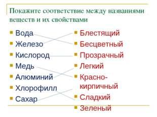 Покажите соответствие между названиями веществ и их свойствами Вода Железо Ки