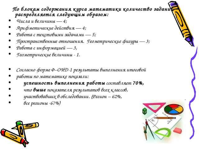 По блокам содержания курса математики количество заданий распределяется след...