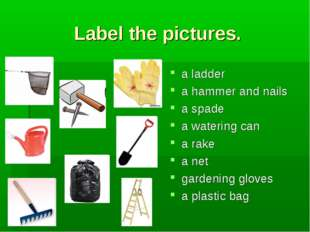 Label the pictures. a ladder a hammer and nails a spade a watering can a rake