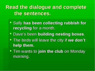 Read the dialogue and complete the sentences. Sally has been collecting rubbi
