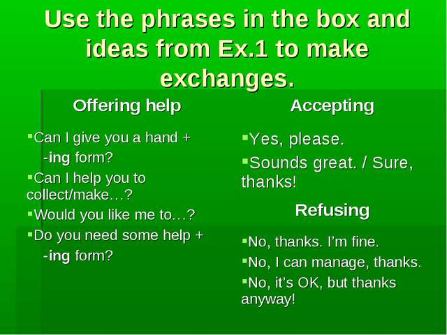 Use the phrases in the box and ideas from Ex.1 to make exchanges.